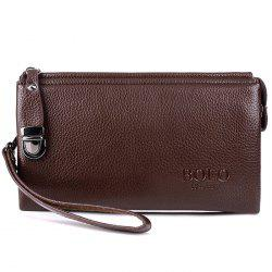 Zipper Metal Embellished Wristlet Clutch Bag - BROWN