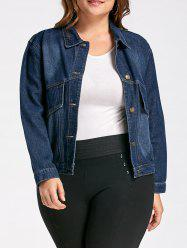 Button Plus Size Pockets Denim Jacket - DENIM BLUE 4XL