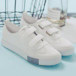 Hook and Loop Faux Leather Sneakers - SILVER 39