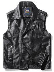 Epaulet Design Zip Up Faux Leather Vest - Noir XL