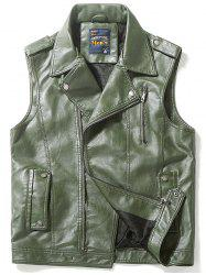 Epaulet Design Zip Up Faux Leather Vest -