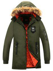 Patch Design Détachable Hood Zip Up Coat - Vert Armée 3XL