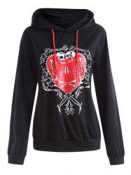 Heart Pattern Plus Size Drawstring Halloween  Hoodie -
