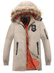 Patch Design Détachable Hood Zip Up Coat - Kaki 3XL