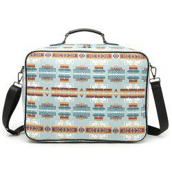 Canvas Zipper Geometric Pattern Tote Bag - LIGHT BLUE