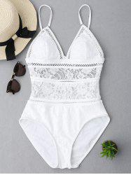 Backless Lace Sheer One Piece Swimsuit - WHITE M
