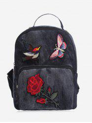 Zipper Denim Embroidery Backpack - BLACK