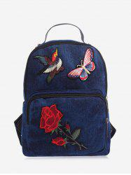 Zipper Denim Embroidery Backpack - DEEP BLUE