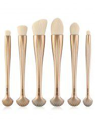 6Pcs Shell Design Plated Facial Makeup Brushes Set - VENETIAN GOLD