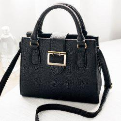 Buckle Strap Textured Leather Tote Bag - BLACK
