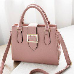 Buckle Strap Textured Leather Tote Bag -