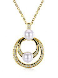 Faux Pearl Doubled Circle Collarbone Necklace - Or