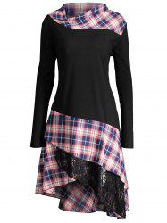 Long Plus Size Lace Plaid Panel Top -