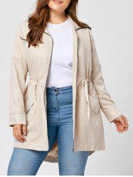 Plus Size High Low Zip Up Coat -