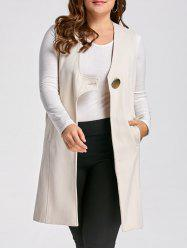 Sleeveless Plus Size Long Blazer Coat -