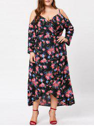 Plus Size Cold Shoulder Overlap Floral Bohemian Dress -