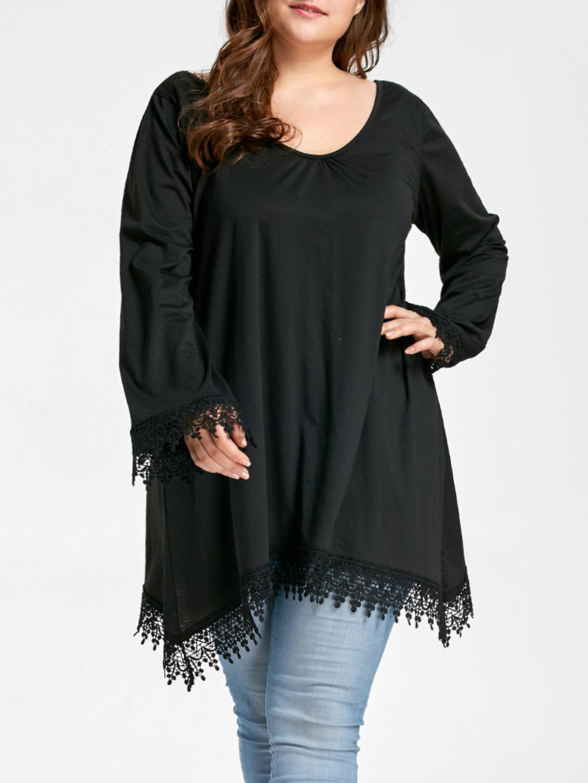Plus Size Asymmetrical Lace Panel Scoop Neck TeeWOMEN<br><br>Size: XL; Color: BLACK; Material: Cotton,Polyester; Shirt Length: Long; Sleeve Length: Full; Collar: Scoop Neck; Style: Fashion; Season: Fall; Embellishment: Lace; Pattern Type: Solid; Weight: 0.3500kg; Package Contents: 1 x T-shirt;
