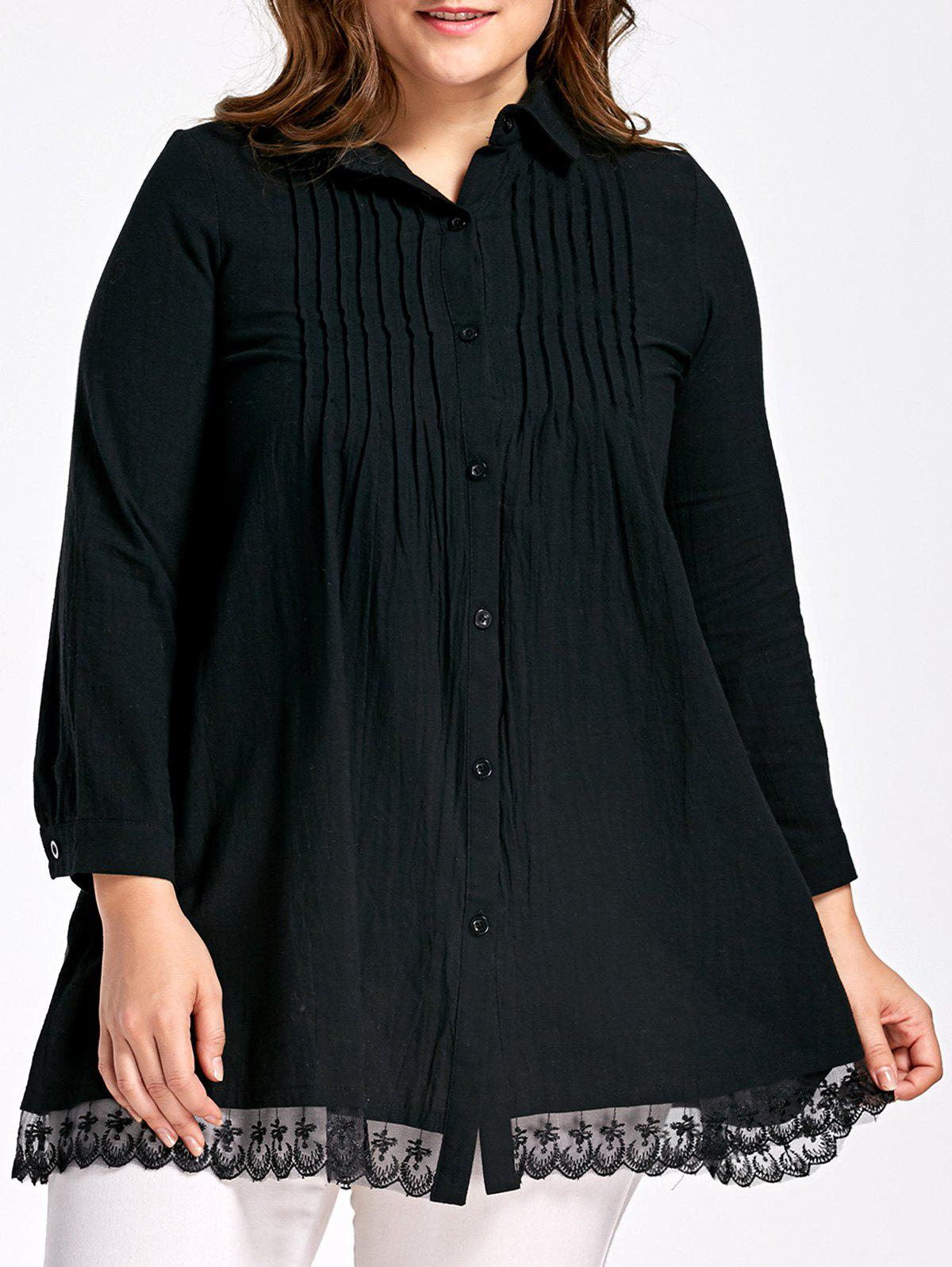 Pleated Plus Size Button Up BlouseWOMEN<br><br>Size: 5XL; Color: BLACK; Material: Polyester,Spandex; Shirt Length: Long; Sleeve Length: Full; Collar: Shirt Collar; Style: Fashion; Season: Fall,Spring; Pattern Type: Solid; Weight: 0.3000kg; Package Contents: 1 x Blouse;
