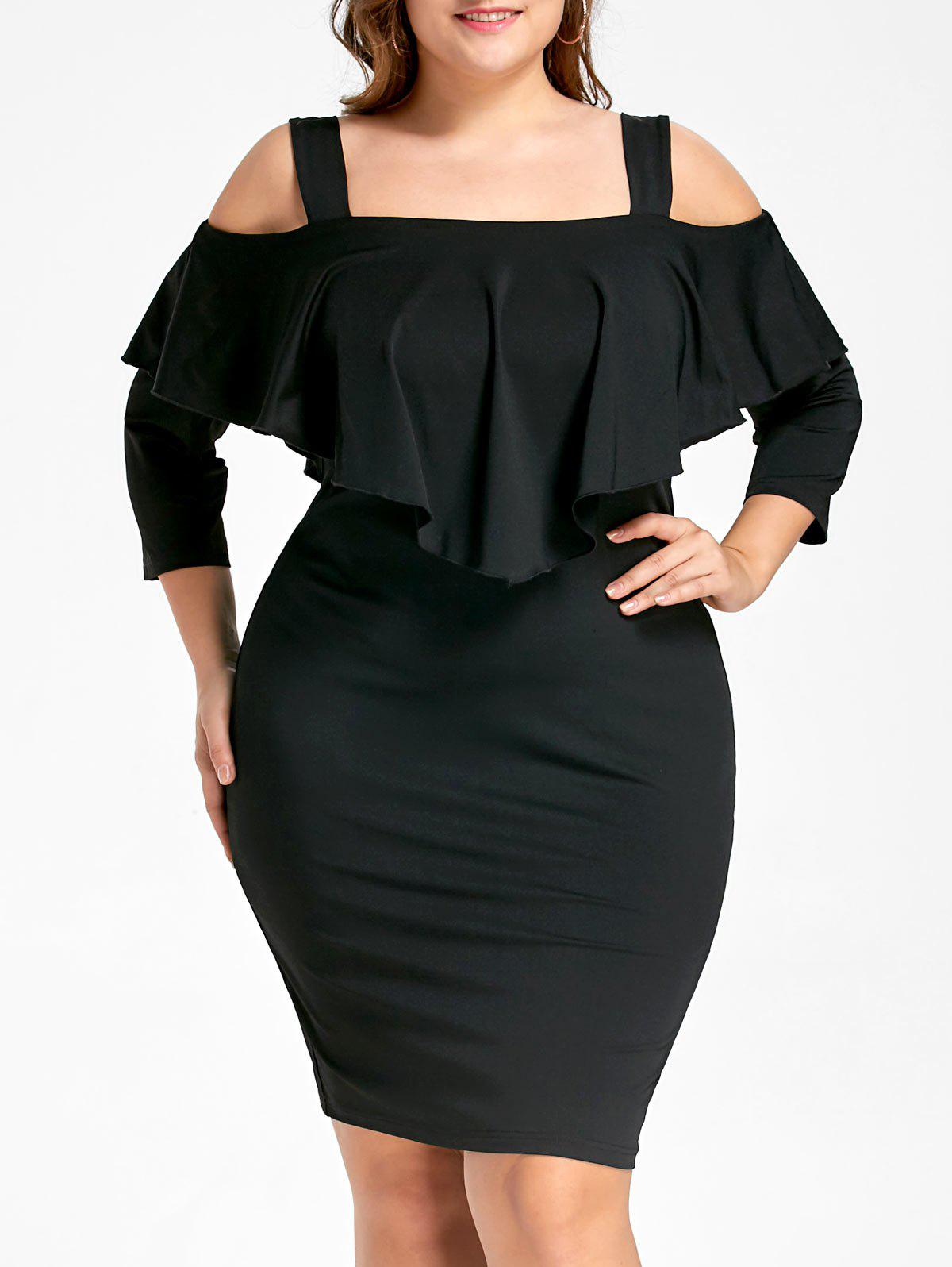 Plus Size Overlay Cold Shoulder Fitted DressWOMEN<br><br>Size: 2XL; Color: BLACK; Style: Brief; Material: Polyester; Silhouette: Sheath; Dresses Length: Knee-Length; Neckline: Square Collar; Sleeve Length: 3/4 Length Sleeves; Pattern Type: Solid Color; With Belt: No; Season: Fall,Spring; Weight: 0.3700kg; Package Contents: 1 x Dress;