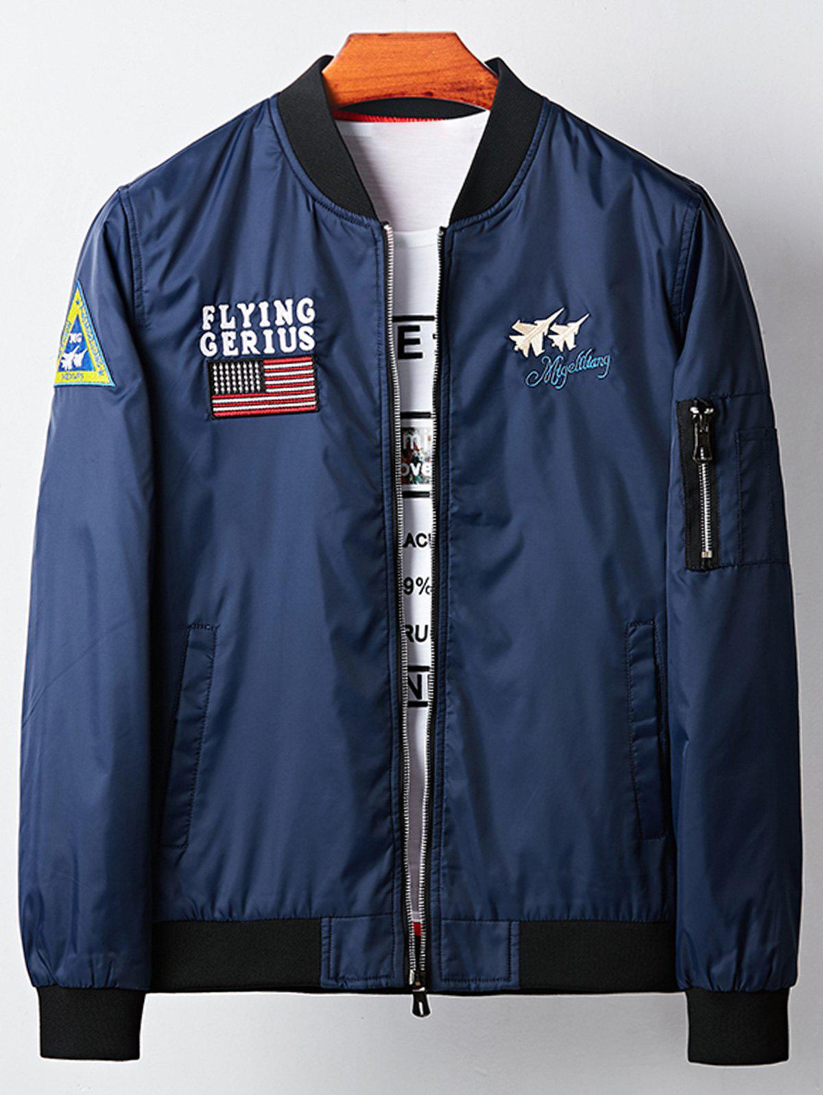 Trendy Applique Aircraft Graphic Embroidered Bomber Jacket