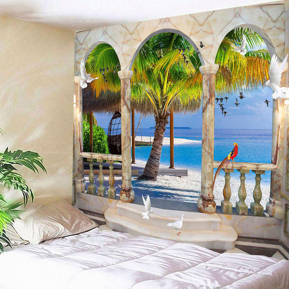 Window Birds Coconut Tree Seaside Waterproof Wall TapestryHOME<br><br>Size: W79 INCH * L71 INCH; Color: BLUE; Style: Natural; Theme: Landscape; Material: Velvet; Feature: Removable,Waterproof; Shape/Pattern: Window; Weight: 0.3800kg; Package Contents: 1 x Tapestry;