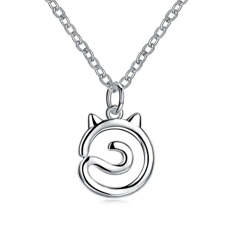Simple Cat Alloy NecklaceJEWELRY<br><br>Color: SILVER; Item Type: Pendant Necklace; Gender: For Women; Necklace Type: Link Chain; Metal Type: Alloy; Style: Fresh Style; Shape/Pattern: Animal; Weight: 0.0300kg; Package Contents: 1 x Necklace;