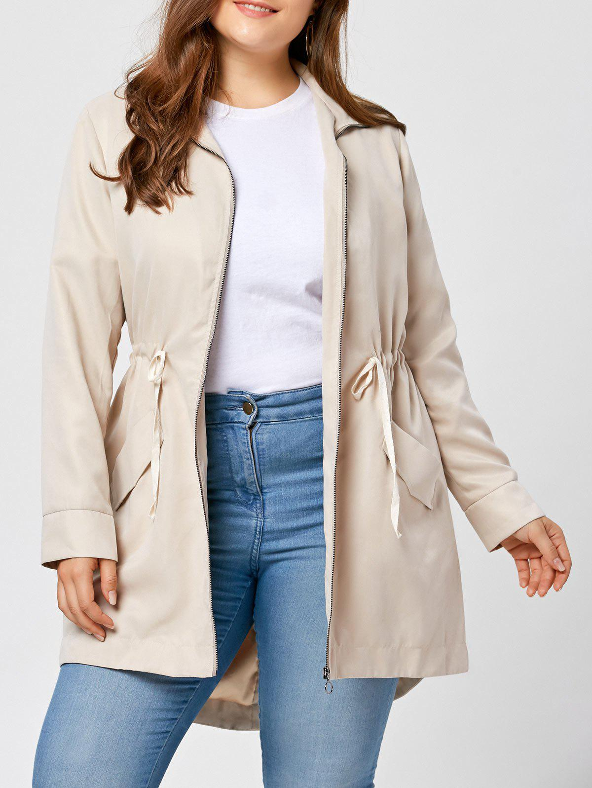 Chic Plus Size High Low Zip Up Coat