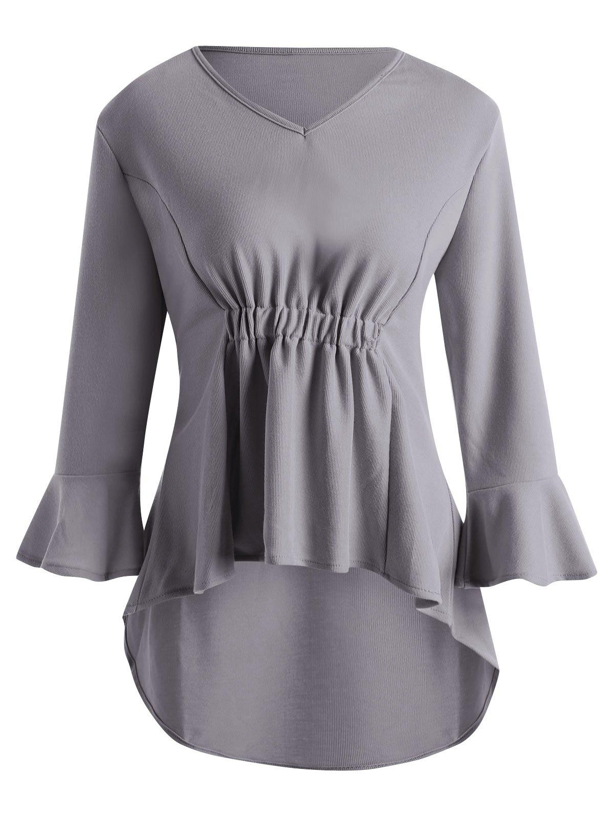 84ace238f7e6f4 50% OFF] Bell Sleeve Plus Size High Low Peplum Top | Rosegal
