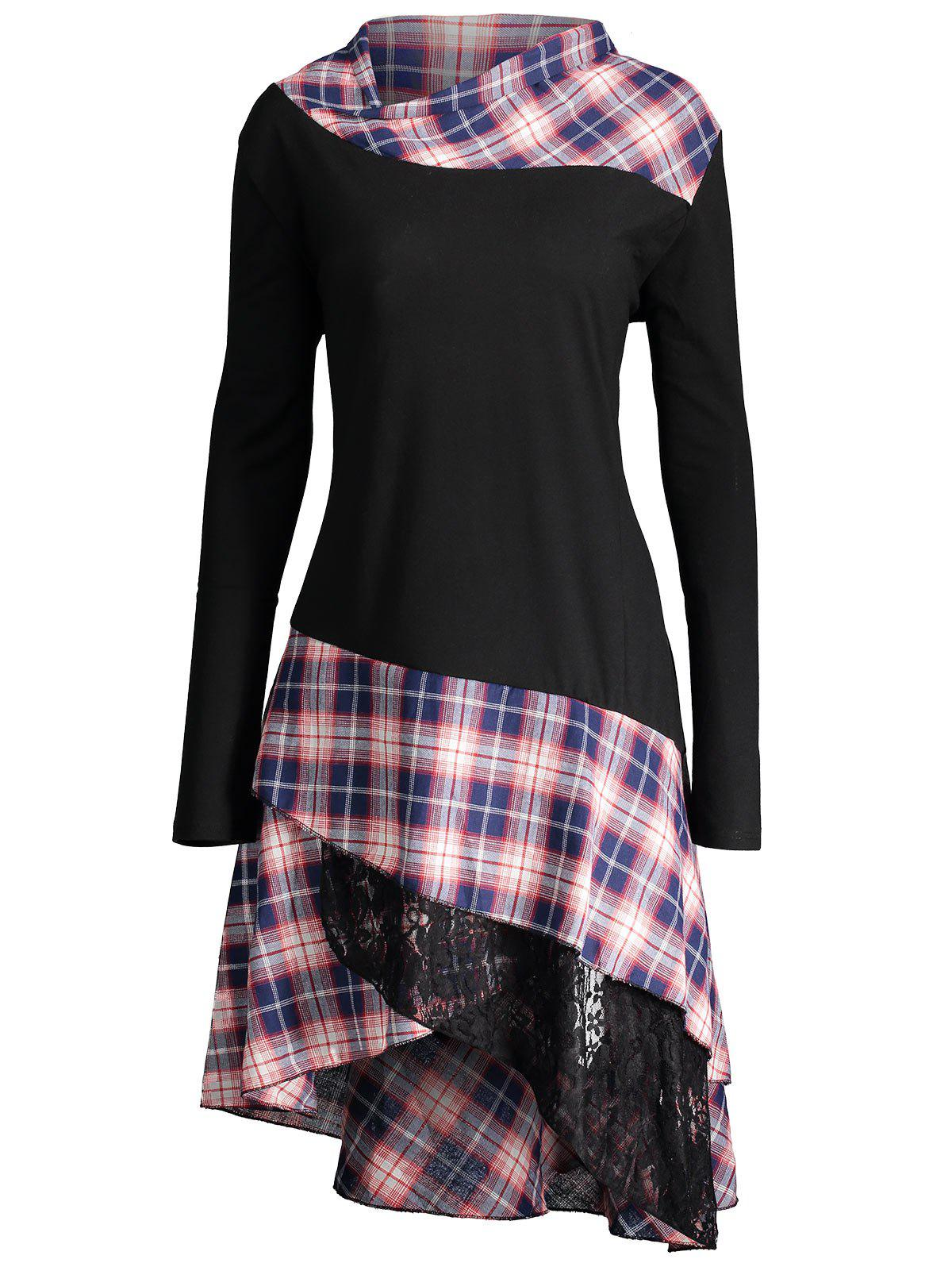 Long Plus Size Lace Plaid Panel TopWOMEN<br><br>Size: 2XL; Color: BLACK; Material: Polyester,Spandex; Shirt Length: Long; Sleeve Length: Full; Collar: Mock Neck; Style: Fashion; Season: Fall,Spring; Pattern Type: Plaid; Weight: 0.4100kg; Package Contents: 1 x Top;