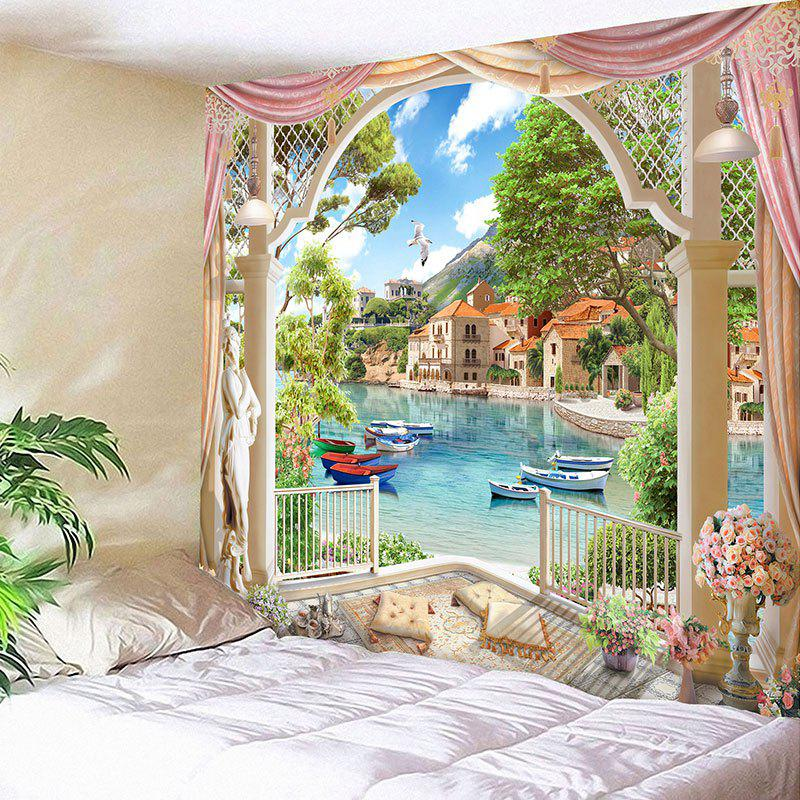 Lakeside Scenic Pattern Waterproof Wall Art TapestryHOME<br><br>Size: W59 INCH * L51 INCH; Color: COLORMIX; Style: Natural; Theme: Landscape; Material: Velvet; Feature: Removable,Washable,Waterproof; Shape/Pattern: Buildings,Plant; Weight: 0.2100kg; Package Contents: 1 x Tapestry;