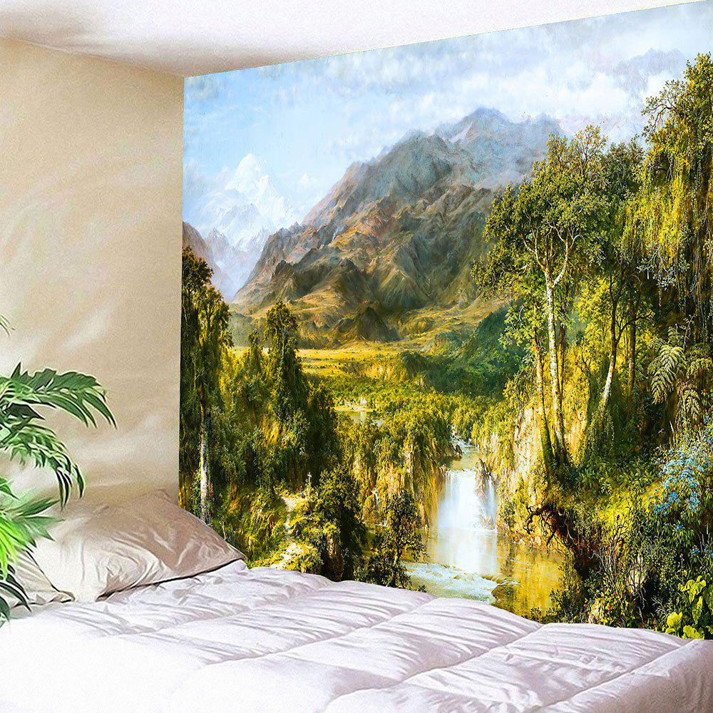 Foggy Mountains River Printed Hanging Waterproof TapestryHOME<br><br>Size: W59 INCH * L51 INCH; Color: GREEN; Style: Natural; Theme: Landscape; Material: Velvet; Feature: Removable,Waterproof; Shape/Pattern: Forest,Mountain; Weight: 0.2100kg; Package Contents: 1 x Tapestry;