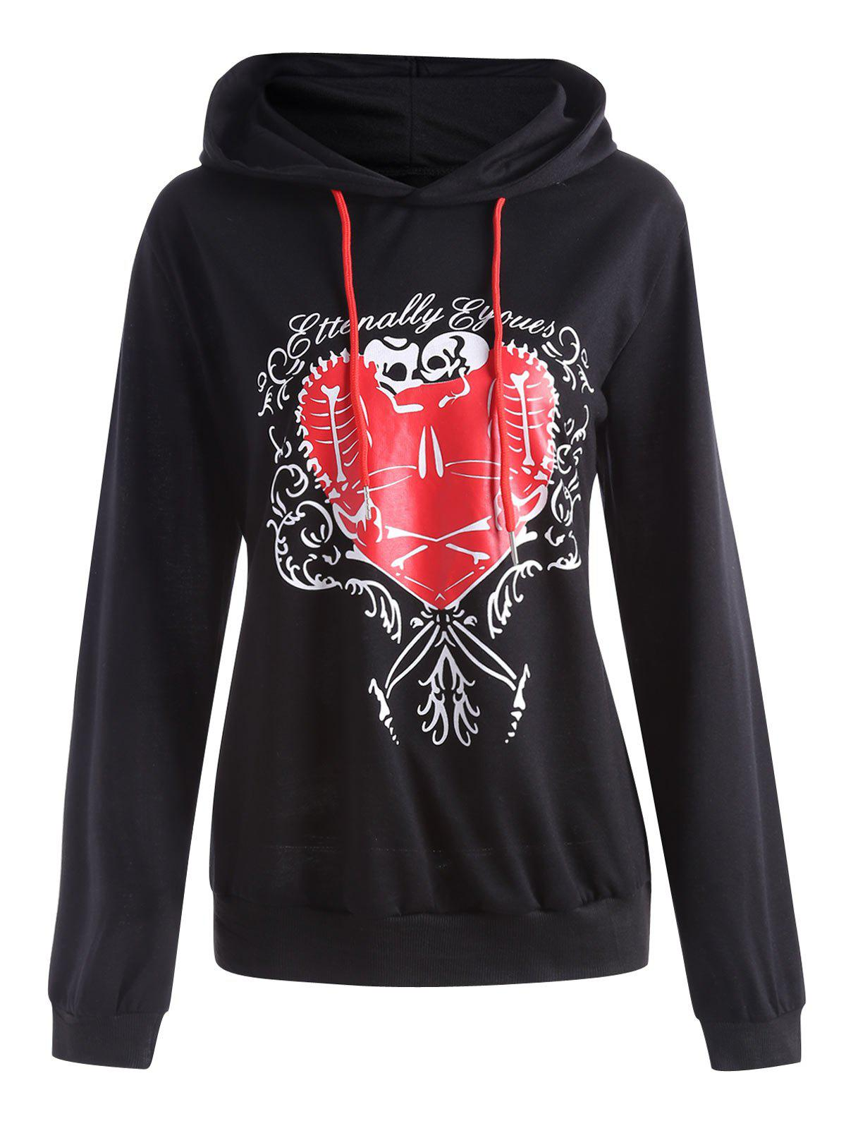 Best Heart Pattern Plus Size Drawstring Halloween  Hoodie