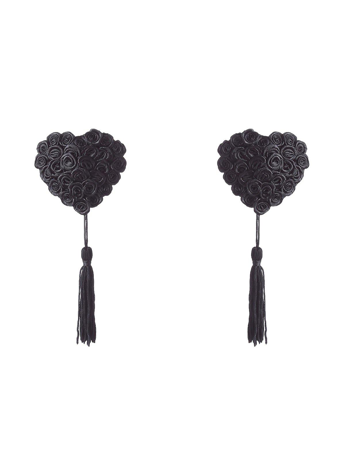 Tassel Adhesive Nipple CoversWOMEN<br><br>Size: ONE SIZE; Color: BLACK; Intimates Accessories Type: Breast Petal; Weight: 0.0900kg; Package Contents: 1 x Nipple Cover(Pair);