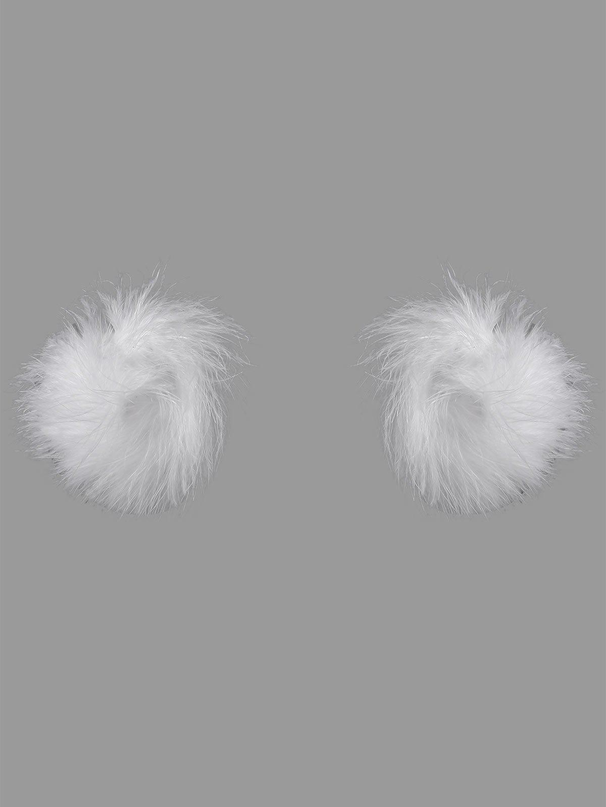 Faux Feather Fur Nipple CoversWOMEN<br><br>Size: ONE SIZE; Color: WHITE; Intimates Accessories Type: Breast Petal; Material: Synthetic Leather; Weight: 0.1000kg; Package Contents: 1 x Nipple Cover(Pair);