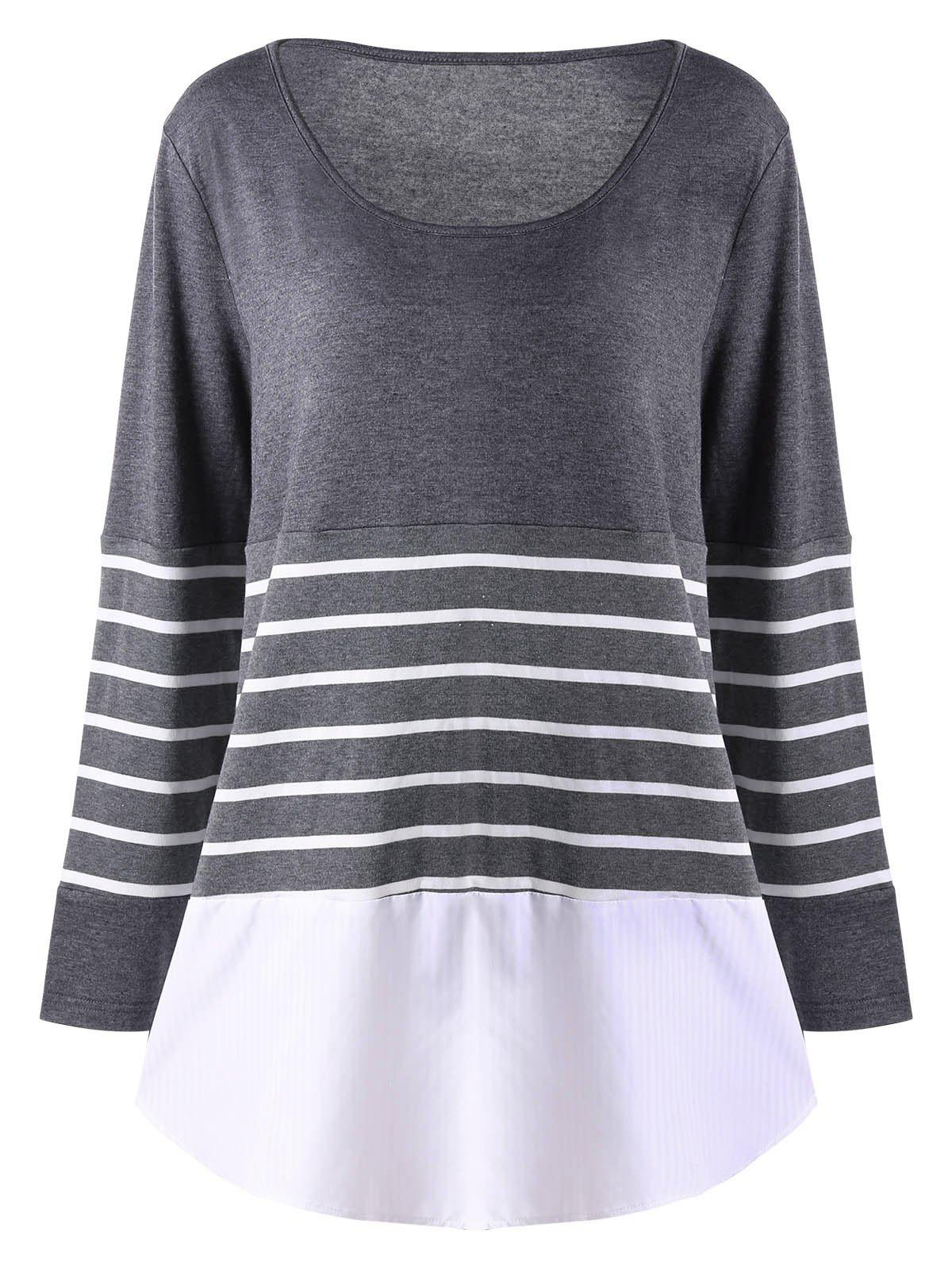 Plus Size Striped Long Sleeve TopWOMEN<br><br>Size: 2XL; Color: GRAY; Material: Polyester,Spandex; Shirt Length: Long; Sleeve Length: Full; Collar: Scoop Neck; Style: Casual; Season: Fall,Spring; Pattern Type: Striped; Weight: 0.3000kg; Package Contents: 1 x Top;