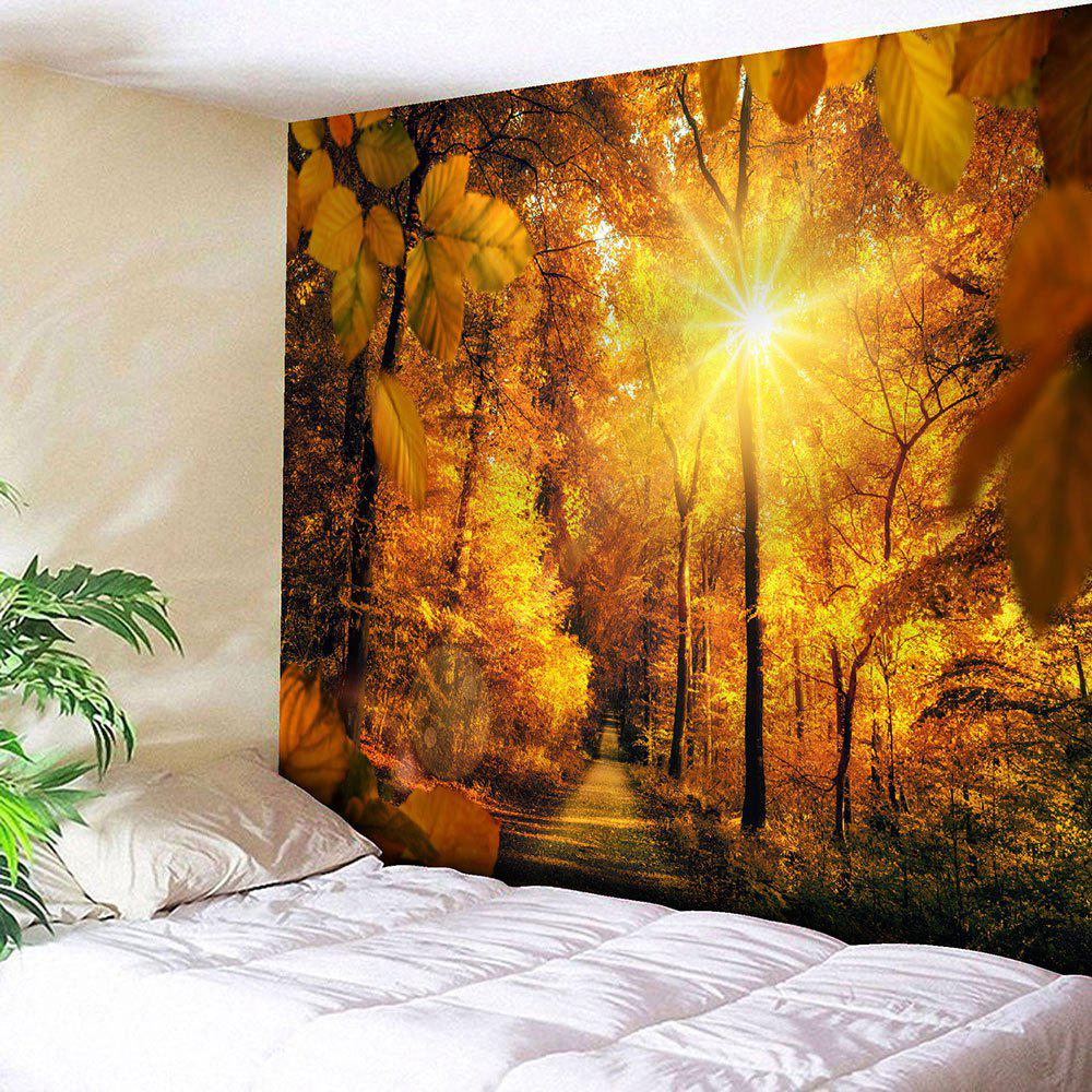 Sunshine Sugarbush Pattern Waterproof Wall Decor TapestryHOME<br><br>Size: W91 INCH * L71 INCH; Color: YELLOW; Style: Natural; Material: Velvet; Feature: Removable,Washable,Waterproof; Shape/Pattern: Forest; Weight: 0.4200kg; Package Contents: 1 x Tapestry;