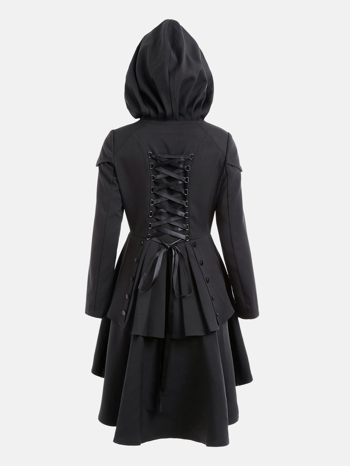 Lace Up Layered High Low Hooded CoatWOMEN<br><br>Size: 2XL; Color: BLACK; Clothes Type: Others; Material: Polyester; Type: High Waist; Shirt Length: Long; Sleeve Length: Full; Collar: Hooded; Closure Type: Single Breasted; Pattern Type: Solid; Embellishment: Criss-Cross; Style: Gothic; Season: Fall,Spring; With Belt: No; Weight: 0.6600kg; Package Contents: 1 x Coat;