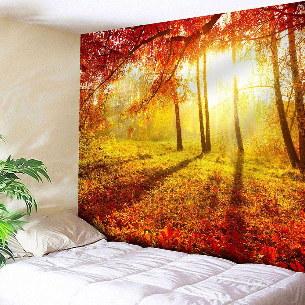 Maple Forest Sunlight Waterproof Wall Hanging TapestryHOME<br><br>Size: W79 INCH * L71 INCH; Color: YELLOW; Style: Natural; Theme: Landscape; Material: Velvet; Feature: Removable,Waterproof; Shape/Pattern: Forest; Weight: 0.2100kg; Package Contents: 1 x Tapestry;