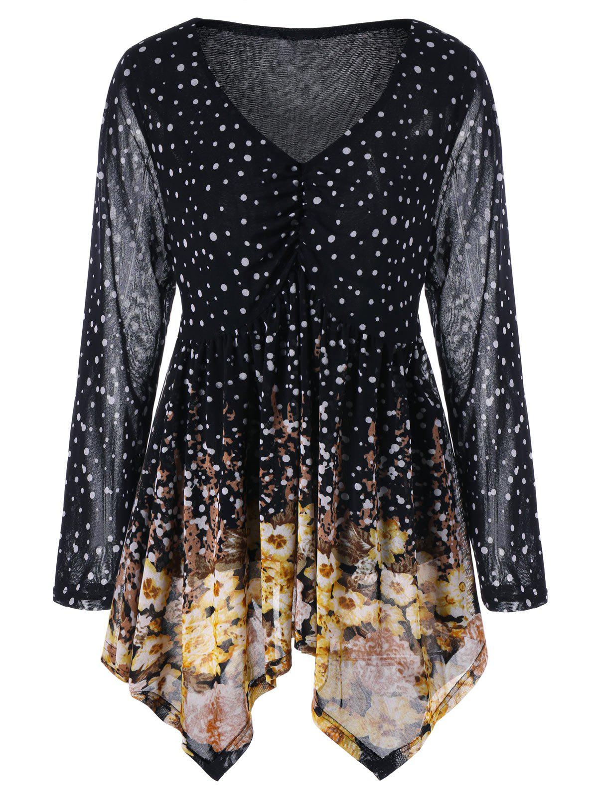 Plus Size V Neck Polka Dot BlouseWOMEN<br><br>Size: XL; Color: BLACK; Material: Polyester; Shirt Length: Long; Sleeve Length: Full; Collar: V-Neck; Style: Casual; Season: Fall,Spring; Pattern Type: Polka Dot; Weight: 0.2800kg; Package Contents: 1 x Blouse;