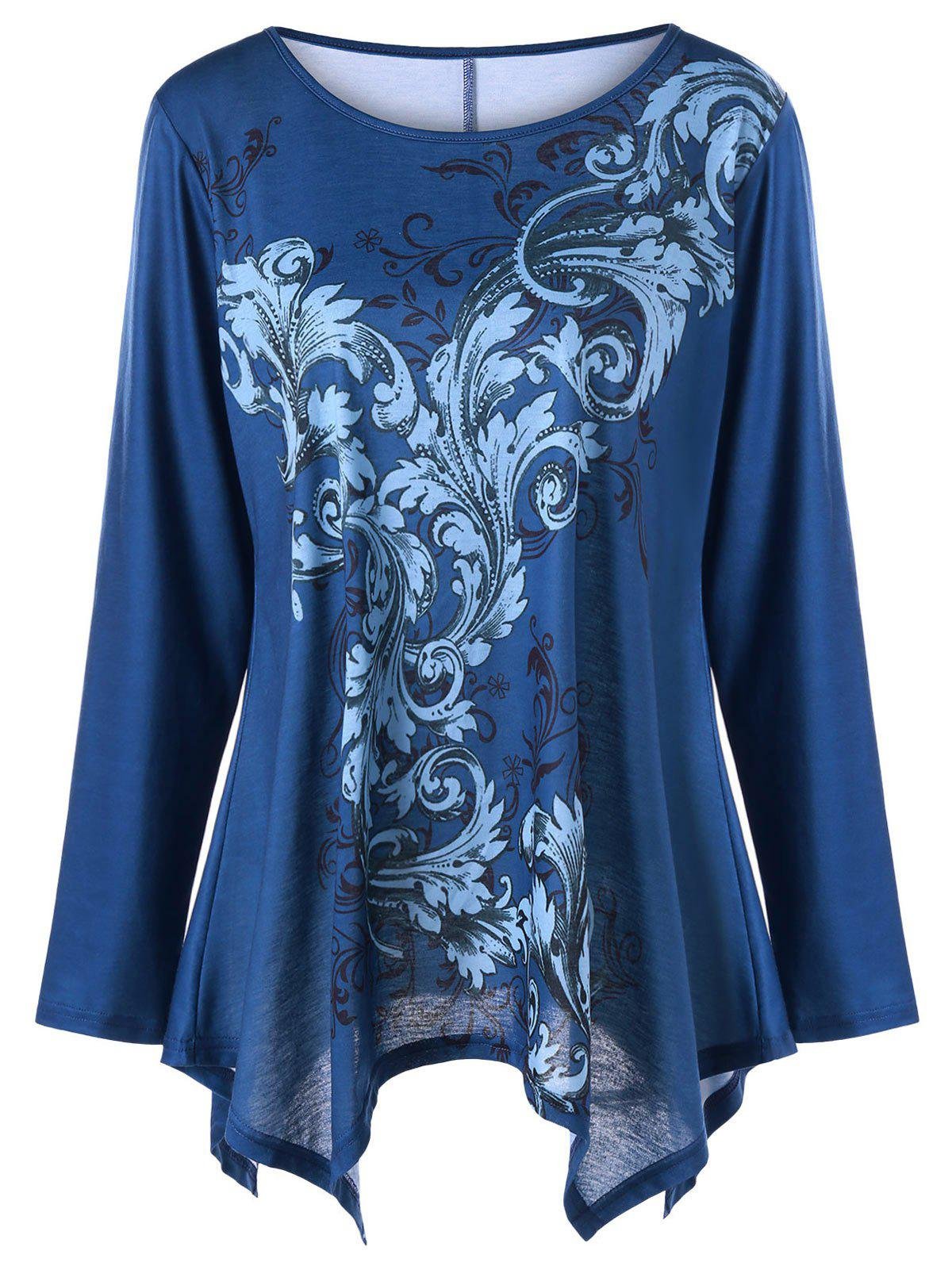 Plus Size Long Sleeve Floral Print Handkerchief TeeWOMEN<br><br>Size: 4XL; Color: BLUE; Material: Cotton,Polyester; Shirt Length: Regular; Sleeve Length: Full; Collar: Round Neck; Style: Casual; Season: Fall,Spring; Pattern Type: Floral; Weight: 0.3000kg; Package Contents: 1 x T-shirt;