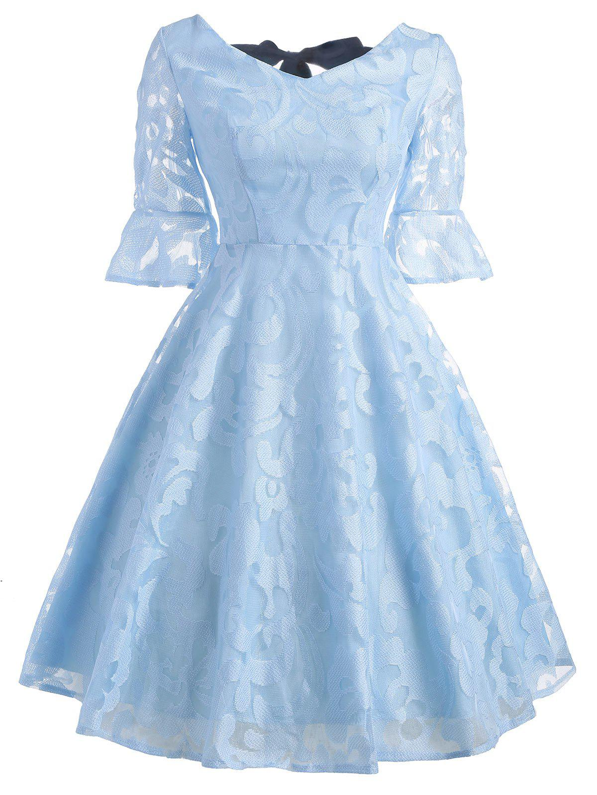Flare Sleeeve Bowknot Lace DressWOMEN<br><br>Size: S; Color: LIGHT BLUE; Style: Vintage; Material: Cotton,Polyester; Silhouette: A-Line; Dresses Length: Mini; Neckline: V-Neck; Sleeve Length: Half Sleeves; Embellishment: Bowknot,Lace; Pattern Type: Solid; With Belt: No; Season: Fall; Weight: 0.2700kg; Package Contents: 1 x Dress;