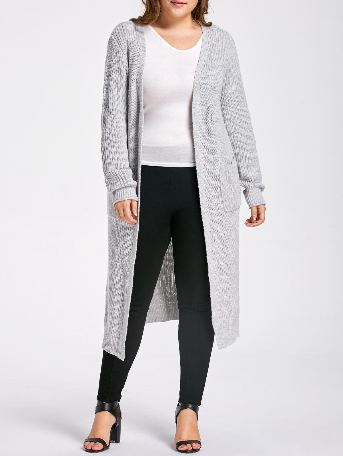 Plus Size Slit Open Front  Long Chunky Knit CardiganWOMEN<br><br>Size: 5XL; Color: GRAY; Type: Cardigans; Material: Cotton,Polyester; Sleeve Length: Full; Collar: Collarless; Style: Fashion; Season: Fall,Winter; Pattern Type: Solid; Elasticity: Elastic; Weight: 0.7200kg; Package Contents: 1 x Cardigan;