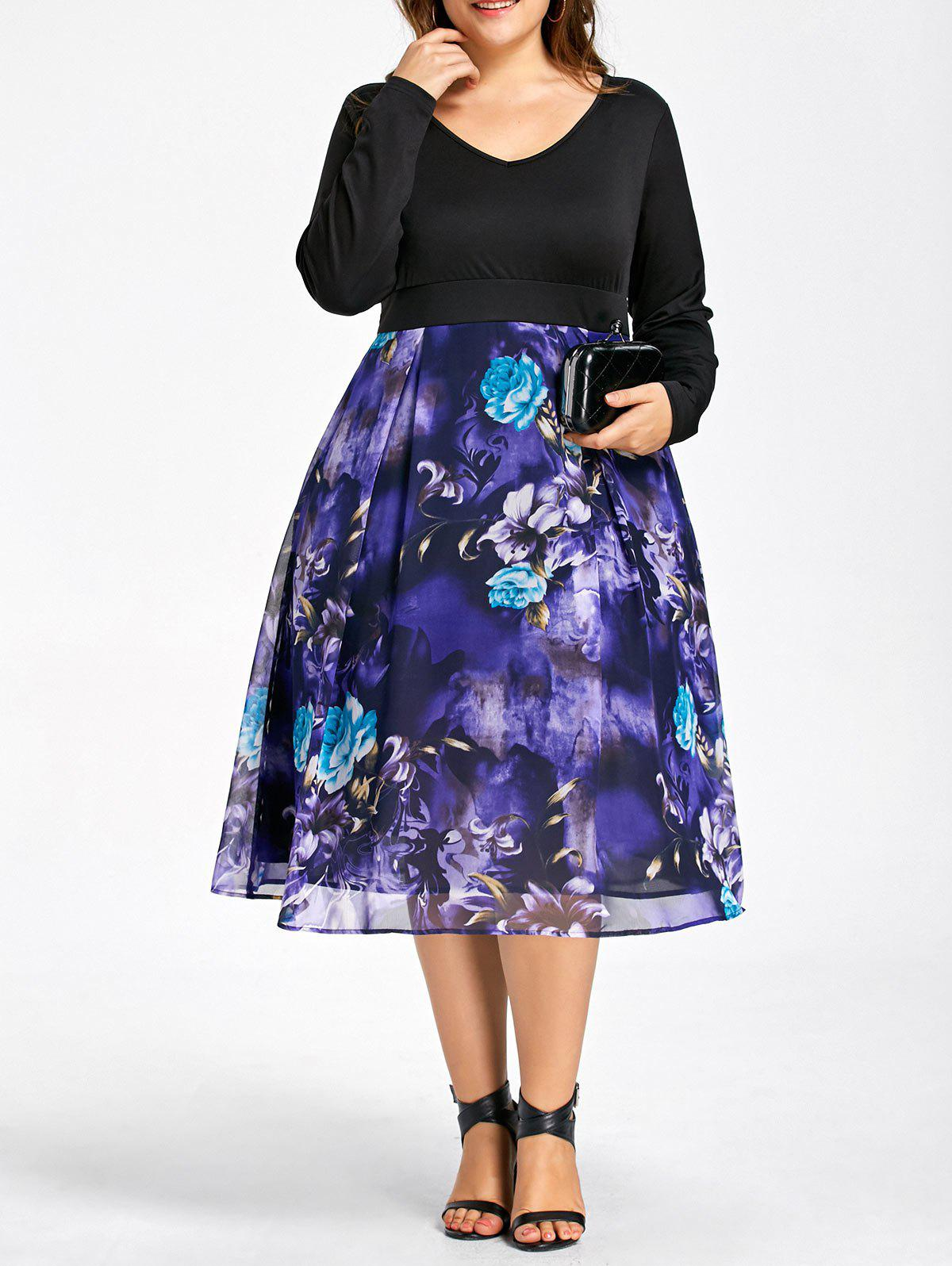 Plus Size Floral Print Long Sleeve DressWOMEN<br><br>Size: 5XL; Color: BLACK; Style: Brief; Material: Polyester,Spandex; Silhouette: A-Line; Dresses Length: Mid-Calf; Neckline: V-Neck; Sleeve Length: Long Sleeves; Pattern Type: Floral; With Belt: No; Season: Fall,Spring; Weight: 0.4120kg; Package Contents: 1 x Dress;