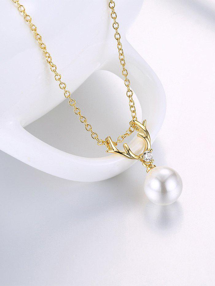 Faux Pearl Charm Deer Horn NecklaceJEWELRY<br><br>Color: GOLDEN; Item Type: Pendant Necklace; Gender: For Women; Necklace Type: Link Chain; Material: Rhinestone; Style: Trendy; Shape/Pattern: Animal; Length: 50CM; Weight: 0.0300kg; Package Contents: 1 x Necklace;