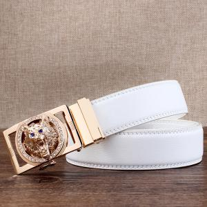 Rhinestone Alloy Wolf Carving Automatic Buckle Belt - WHITE AND GOLDEN 130CM