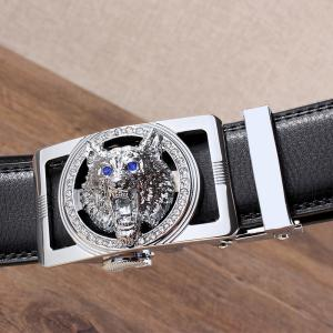 Rhinestone Alloy Wolf Carving Automatic Buckle Belt - Argent et Noir 130cm
