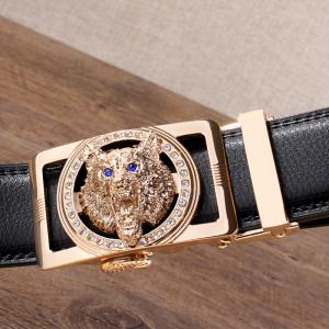 Rhinestone Alloy Wolf Carving Automatic Buckle Belt - BLACK AND GOLDEN 120CM