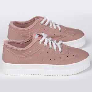 Lace Up Hollow Out Canvas Shoes - PINK 37