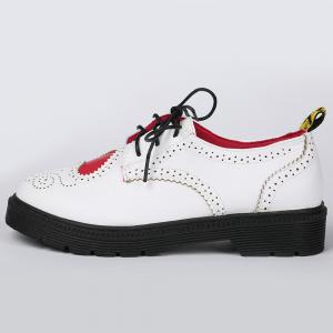 Heart Pattern Wingtip Lace Up Flat Shoes - WHITE 39