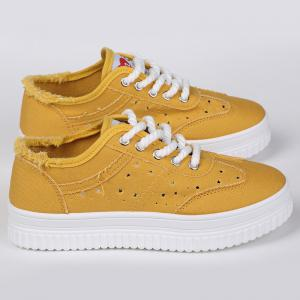 Lace Up Hollow Out Canvas Shoes - YELLOW 37